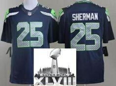 Nike Seattle Seahawks 25 Richard Sherman Blue LIMITED 2014 Super Bowl XLVIII NFL Jerseys