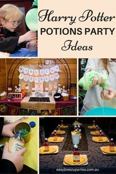 A fabulous Harry Potter party, with a potions masterclass, Warlock's ice-creamery sundae station and balloon quidditch! By #easybreezyparties. Party blog at http://easybreezyparties.com.au/party-inspiration-and-ideas/item/118-jamie-s-magical-harry-potter-party.html #harrypotter#potionsclass
