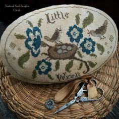 "Scattered Seed Samplers: ""Out on a Limb"". Cross Stitch Charts, Cross Stitch Designs, Waiting Rooms, Vintage Country, Little Birds, Wren, Seeds, Coin Purse, Reusable Tote Bags"