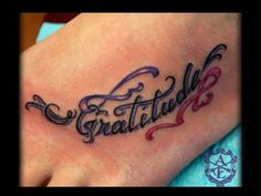 Gratitude with Ribbons Foot Tattoo done by Sean Ambrose at Arrows and Embers Custom Tattooing