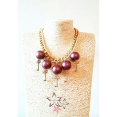 Items similar to Secret Garden, Gold plated brass key charms, Bordeaux acrylic pearls, Brass chain, Christmas Handmade Necklace on Etsy Brass Chain, Handmade Christmas, Handmade Necklaces, Bordeaux, Jewelry Collection, Charms, Key, Garden, Gold