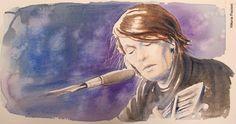 Vittoria Piccioni, «Faber». Acquerello, 60x40, 2016 Painting, Portraits, Musica, Drawings, Painting Art, Head Shots, Paintings, Portrait Photography, Painted Canvas