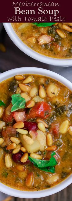 Mediterranean Bean Soup with Tomato Pesto | The Mediterranean Dish. Tons of flavor in this cozy bean soup loaded with vegetables, and Mediterranean flavors from spices and amazing fresh tomato pesto. This is not your average bean soup! A must try from TheMediterraneanDish.com #beansoup #mediterraneandiet #mediterraneanfood #mediterraneanrecipes #vegetablesoup #vegetarian #glutenfree #budgetfriendly #onepot #chickpeas #kidneybeans #beans #soup #justaddpulses #halfcuphabit #eatpulses