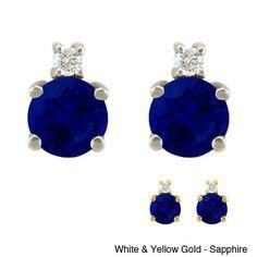 10k Gold Birthstone and Diamond Stud Earrings (White Gold- Rhodolite-June), Women's, Red
