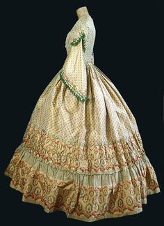 Civil War period silk day dress, 1860s, from the Vintage Textile archives.