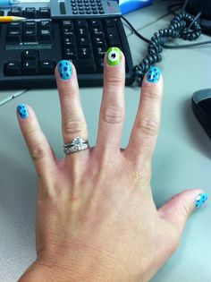 Monsters Inc nails ... Totally rocking this for Loralei's party if we do MI!