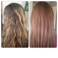 Before and after! Balayage and highlights for a strawberry blonde effect
