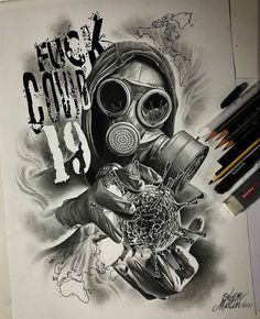Dark Art Drawings, Tattoo Design Drawings, Tattoo Sketches, Tattoo Designs, Chicano Lettering, Tattoo Lettering Fonts, Gas Mask Art, Masks Art, Lion Tattoo Sleeves