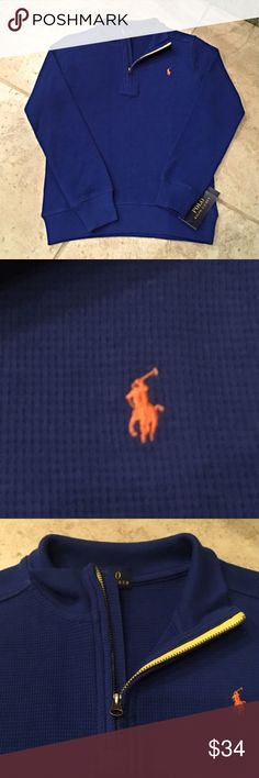 Polo Ralph Lauren Waffleweave Quarter Zip FIRM Boys dark blue waffleweave quarter zip with orange Polo horse embroidered on chest. Yellow fabric lining on inside of zipper. Third photo shows truest color. Polo by Ralph Lauren Jackets & Coats