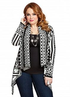 abstract print open front cardigan