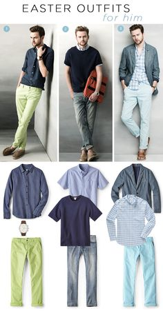 #Fossil - Easter Looks for Him - This season, we love pairing neutrals with a bright chino or adding some simple layers to create the perfect in-between look. #fossilstyle