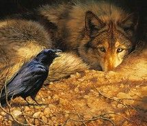"""Call to hunt!"" The raven will ""co-hunt"" with the wolf, letting him know where wild game is. Then they will share the meal together."