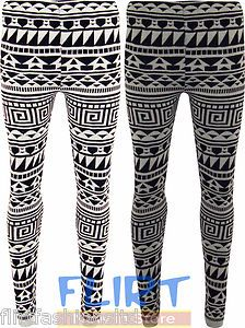 Womens Knitted Full Length Leggings Ladies Aztec Print Trouser Warm Winter Pants