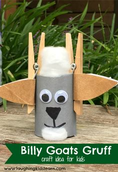 Billy goats gruff craft idea for kids. #craftsforkids #goatcraft #billygoatsgruff #preschool craft #craftideasforkids #goats #goat #cardboardcraft #diyactivity #preschool #literacy #kidsread #artsandcrafts