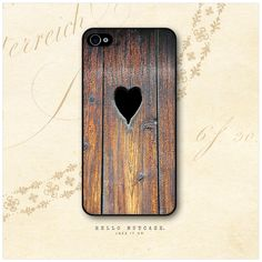iPhone 4 and 4S case Wood and Heart. $15.00 USD, via Etsy.