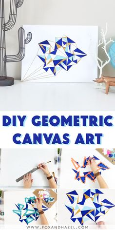 Create this stunning geometric canvas art DIY using fluid acrylics from Deco Art Media. Using just a handful of paints, some lines and time, you can make this modern piece of art for your home!