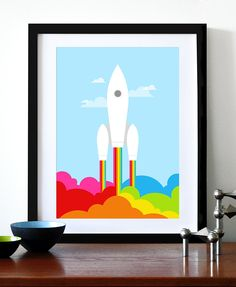 Poster print retro rainbow rocket print Mid century modern space ship nursery art - Rainbow Rocket  A3. $29.00, via Etsy.
