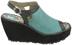 Fly London Pyle Wedged Sandal (Nile Green/Black/Black)