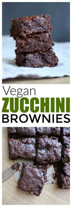 HEALTHY Vegan Zucchini Brownies! Made with whole grains and shredded zucchini, these Vegan Zucchini Brownies are a healthier way to enjoy one of your favorite desserts! Vegan!