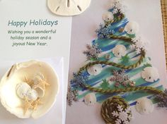 Holiday Cards Sand Dollar Green Rope and Snowflake Watercolor Christmas Tree Card Set