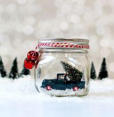Mason Jar Snow Globes. Vintage cars in mason jars. Vintage trucks in mason jars. How to make a mason jar snow globe. Vintage car snow globe. Includes links.