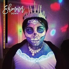skull girl  featuring our Starstruck face jewels and custom chunky glitter blend  #shimmerdown #glitterallyawesome #shimmeredsaturdays