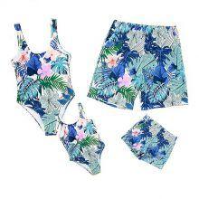 a1d956ea693c2 Family Matching Tropical Floral and Leaf Print Beachwear Family Set, Kids  Swimwear, Leaf Prints