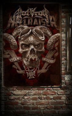 Rumble59 Poster - Hotrod Hellraiser - Poster mit handgemaltem Totenkopf Motiv auf hochwertigem Papier und in großem Format. - Rockabilly-Rules.com