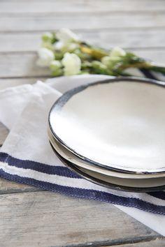 Ceramic Plate set of 2, Cake Plate,Black&white Plate,Wabi Sabi Pottery,Stoneware Plate,Housewarming Gift by 1220CeramicsStudio on Etsy