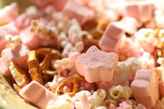 twinkle twinkle little star, party, first birthday, star marshmallows, snack mix, pink and gold