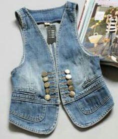 Diy Jeans, Sewing Jeans, Denim And Lace, Denim Kurti, Denim Vests, Denim Jackets, Estilo Jeans, Denim Ideas, Jean Vest