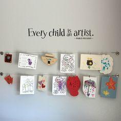 Display kids' artwork in playroom by brittney