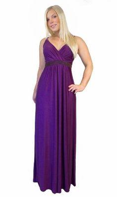 Amazon.com: British Design by MONTYQ UK Long Evening Summer Party Holiday Maxi Dress Empire Style Deep Purple - Plus Sizes: Clothing