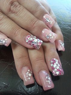 Pink 3d rhinestone betty Johnson nails