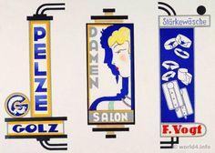 Designs for promotional transparencies from August Golz. German Art Deco Interior design, architecture, furniture decoration, Neue Sachlichkeit, Bauhaus, New Objectivity