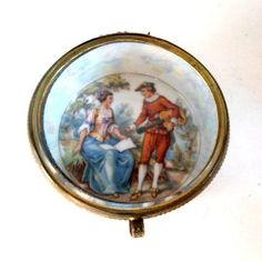Antique Jewelry Trinket Box with Beveled Glass Lid Blue and White with Gold Czechoslovakia Romance French Scene Hand Painted In Box