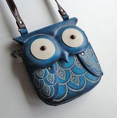 Leather Owl Crossbody Purse   Medium Blue Leather Owl Crossbody Handbag Shoulder Purse