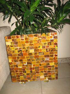 cachepot de mosaico de  vidro