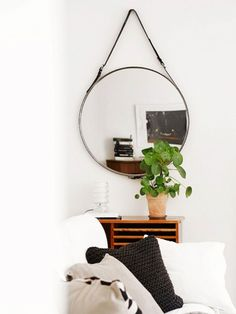 Mirror from Ikea, belt from H green. Home Design Inspiration For Your Living Room My Living Room, Home And Living, Living Spaces, Kitchen Living, Diy Zimmer, Diy Casa, Decor Inspiration, Deco Originale, Home And Deco