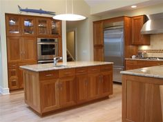 Modern Shaker Cherry kitchen - Mitered doors