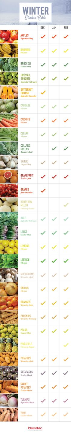 What produce is in season? The seasonality of fruits during the winter might just surprise you. Check 'em out and get recipe ideas for how to use them!