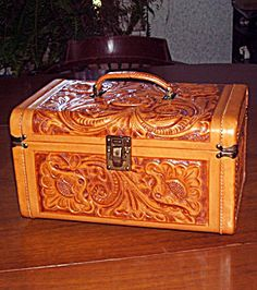Vintage Train Case-omg want this! Looks to be a southwestern handtooled traincase