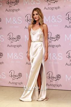 Rosie Huntington-Whiteley Stuns at 'Rosie for Autograph' Fragrance Launch in London!: Photo Rosie Huntington-Whiteley looks absolutely stunning as she happily strikes a pose while attending her Rosie for Autograph fragrance launch for M&S at Marks &… White Gown Dress, Silk Satin Dress, Satin Dresses, Dress Skirt, Rosie Huntington Whiteley, Celebrity Outfits, Celebrity Style, Celebrity Gossip, Stuart Weitzman