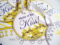"""The favor tags will be attached to maracas, so guests can """"Shake at the KISS!"""" What a sweet idea!!"""