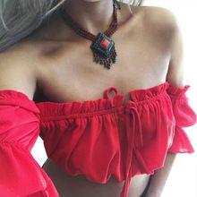 702f18b3e0cf5 Sexy Strapless Off Shoulder Tee Tops Summer Short Sleeve Beach T Shirts  Women Solid Color Crop Tops Camiseta Blusa PTC 641