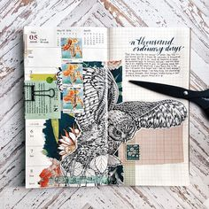 """art journal by othersachas on Instagram. """"For posterity: Week 18. Too little writing, too much sticking-stuff-together-and-only-mildly-hopeful-for-the-best. Too much of life taking its toll on paper."""