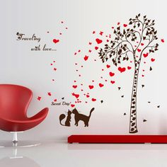Couple Cats Love Tree Wall Sticker TV Background Pegatinas Paredes Decoration Decals Mural Autocollant DIY Home Decor. Category: Home & Garden. Subcategory: Home Decor. Product ID: Wall Stickers Tv, Kids Room Wall Decals, Removable Wall Stickers, Diy Home Decor Bedroom, Home Decor Wall Art, Tree Wall, E Bay, Decoration, Hardware