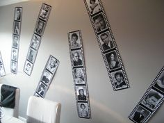 Hollywood. Film strip wall decor. Download pictures of your favourite stars, add a border using editing software, print out on A4 paper and join together using sticky tape.