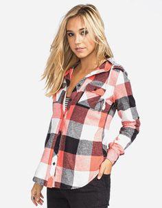 FULL TILT Buffalo Womens Hooded Flannel Shirt #flannel