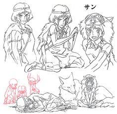 artbooksnat: Princess Mononoke (もののけ姫) animation materials by charact. Studio Ghibli Tattoo, Studio Ghibli Art, Studio Ghibli Movies, Hayao Miyazaki, Mononoke Anime, Mononoke Cosplay, Princess Mononoke Characters, Personajes Studio Ghibli, Studio Ghibli Characters